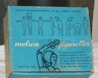 Vintage METRON FIGURETTES~BARBELLS Pair of 3 Lbs ~ Antique Exercise Equipment