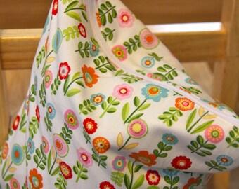 Wet Bag - Flowers on White Back - Dry Bag