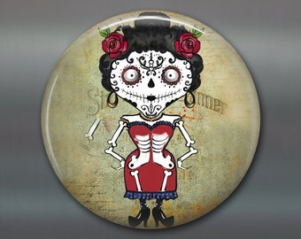 halloween magnet, day of the dead magnet decor, kitchen decor, halloween decor,  girl zombie fridge magnet, large magnet  MA-1302
