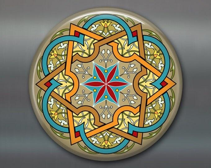 "3.5"" mandala fridge magnet, colourful art magnet, blue kitchen decor, spiritual decor, large magnet, stocking stuffer,   MA-MAND-5"