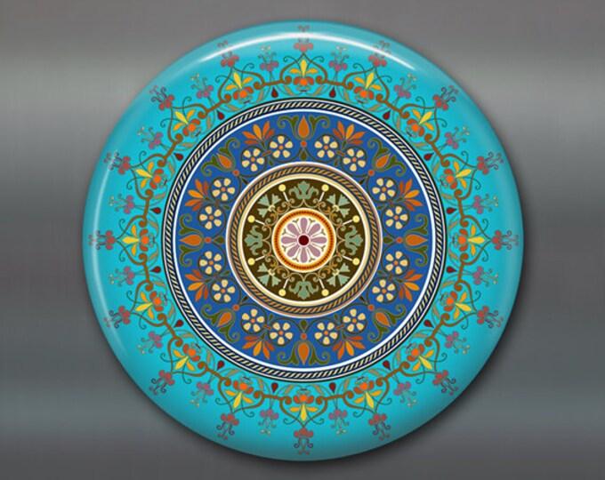 "3.5"" mandala fridge magnet, colourful art magnet, turquoise blue kitchen decor, spiritual decor, large magnet, stocking stuffer,   MA-MAND-6"