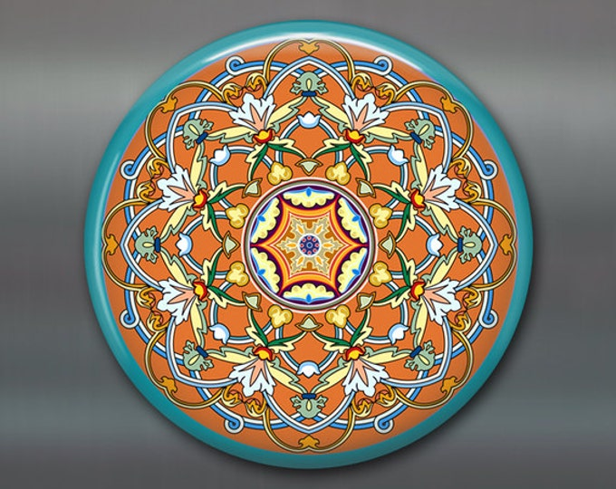 "3.5"" mandala fridge magnet, colourful art magnet, turquoise and orange decor, spiritual decor, large magnet, stocking stuffer,   MA-MAND-7"
