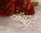 White Pearl Beaded Spray Baby's Breath Bridal Bride Bridesmaid Hair Comb Hair Accessories Flower girl Handmade