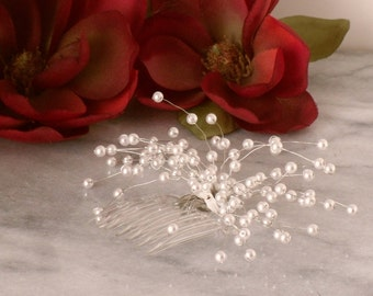 White Pearl Beaded Spray Baby's Breath Bridal Bride Bridesmaid Hair Comb Hair Accessories Flower girl Handmade