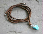 Brown Flat Lace  Leather Turquoise Nugget and Heart Anklet, Wrap Bracelet Or Necklace