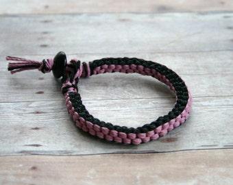 Surfer Macrame Hemp Bracelet Pink and Black Square Woven Knot  Bracelet