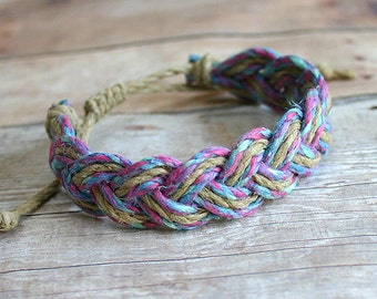 Surfer Sailor Style Hemp Bracelet Mixed Colors Natural Purple