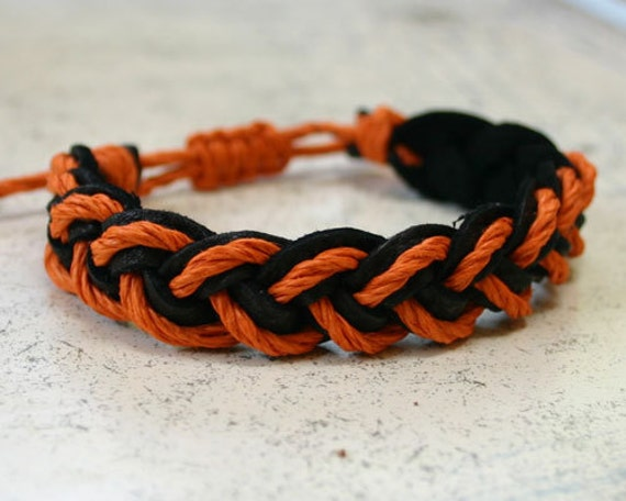 Surfer Sailor Style Hemp Bracelet Mixed Colors Black Leather Orange