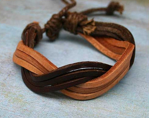 Brown Leather Mens Bracelet Surfer Style Adjustable