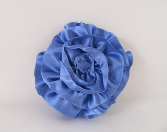 Ribbon Rose Pin-Hair Clip-Brooch-Blue-Periwinkle Blue-Cornflower Blue