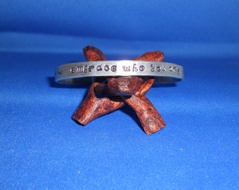 Handstamped bracelet, cuff, personalized bracelet, custom bracelet, Emotions are energy in motion, stackable bracelets, custom jewelry