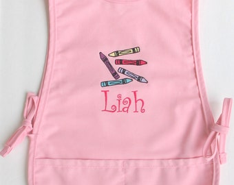 Personalized Kids Smock - Custom Childs Art Apron - Crayons