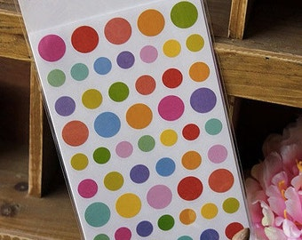 12 sheets Rainbow Round Dots Stickers