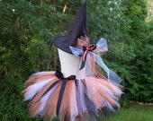 DIY Classic Witch TUTU KIT - Black, Orange and White Halloween Witch Tutu with Embellished Witch Hat