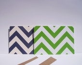 Chevron Note Cards - Chevron Stationery Set, Chevron Thank You Notes, Green Navy Orange Aqua Nautical Card Set