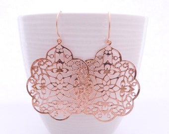 Rose Gold Gypsy Lace Earrings, Dangle Style, Handmade Jewelry