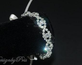 JB4 -  Bridal Jewelry Wedding Accessories - Rhinestone Ribbon Bracelet
