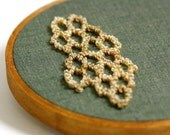 Ready to Ship! Punchneedle Honeycomb Hexagon Embroidery Hoop Art. Bee Keeper Gift. Home Decor. Eco Friendly. Geometric, Green, Yellow.