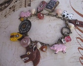 Little pigs Little pigs let me in no.3.vintage three little pigs assemblage fairytale  storybook bracelet