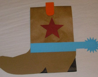 Custom Star Cowboy Boot Birthday Party Favor Treat Sacks BOOTS Western Farm Theme Goody Bags by jettabees on Etsy