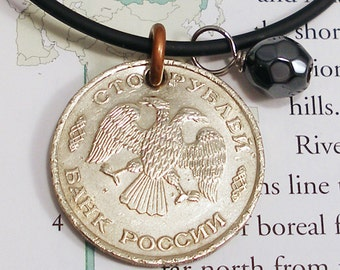 Russia, Vintage Coin Necklace - - Double Headed Eagle - - 1993 - Russian Rubles - World Treasure - Travel - 100