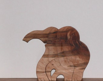 Two Elephants - Wooden Animal Decor - Elephants for Home or Office