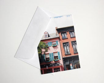Colorful Postcards, Fine Art Photography, Architecture, Pastel Houses, Postcard Set of 4 - READY TO SHIP