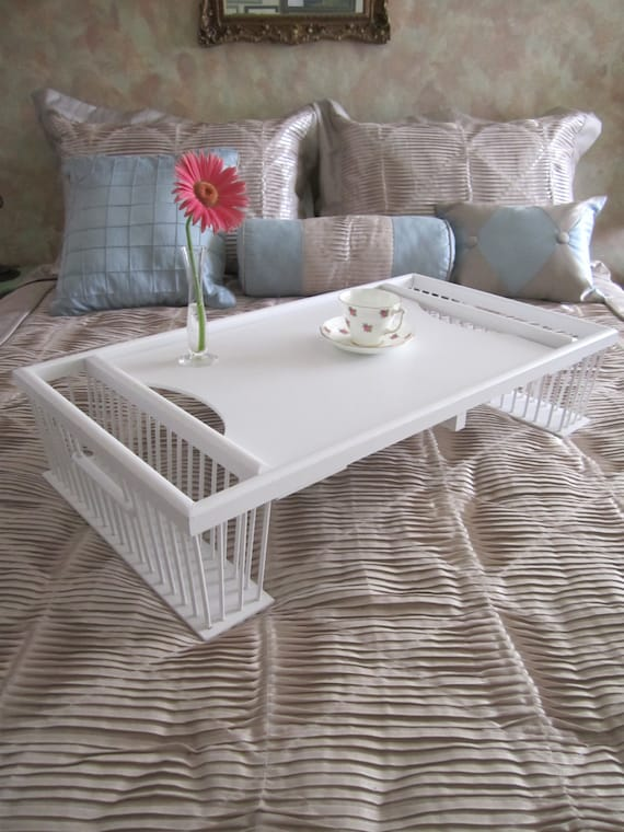 Vintage Wooden Wicker Rattan Large Serving Bed Tray Shabby