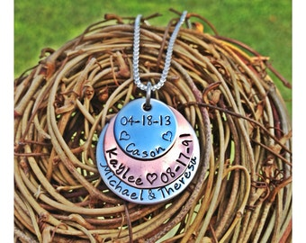 Personalized Hand Stamped mixed metal necklace