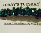 Emerald Green Beaded Barrette