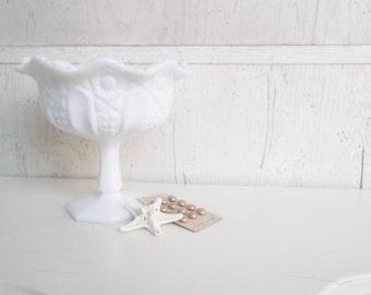 Vintage Milk Glass Westmoreland MilkGlass Wedding Candy Dish Compote Centerpiece Pedestal Bowl