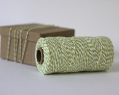 Honeydew Chartreuse Green & White Bakers Twine - 10 metres - Perfect for gift wrapping and crafts
