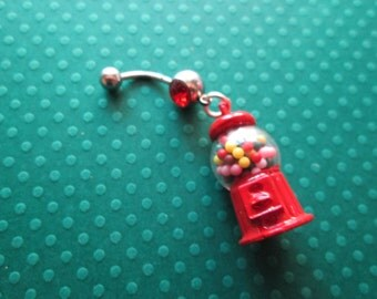 red bubble gum machine belly button ring, body jewelry