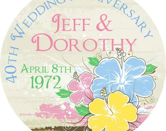 Hibiscus Flowers Anniversary Labels Wedding Birthday Address Birthdays Bridal Showers Product Labels Stickers GLOSSY Round Designer Stickers