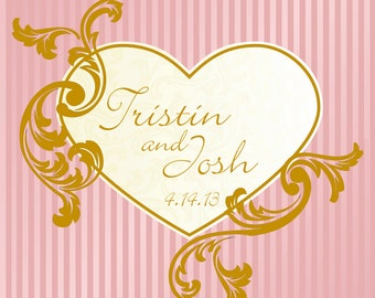 Personalized Heart Stripes and Flourishes Wedding Square Designer Glossy Labels
