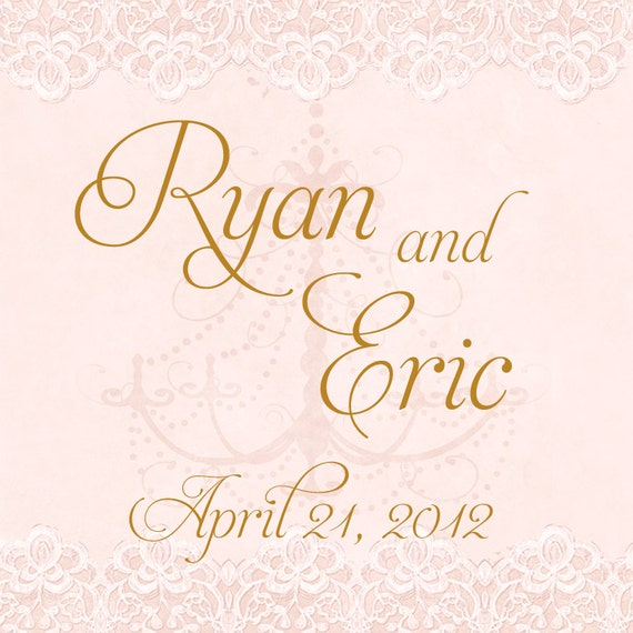 Personalized Lace and Chandelier Wedding Design 100 Square Glossy Labels