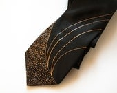 Black silk neck tie Necktie with handpainted copper curves and copper and black dots Gifts for men