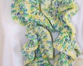 Multicolor Boho Scarf Crochet Curly Scarf Extra Long Scarf Hipster Scarf Ruffle Scarf Green Yellow Blue White