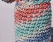 Crochet Water Bottle Cozy Cover Carrier Peach, Blue, Green, White with Handle