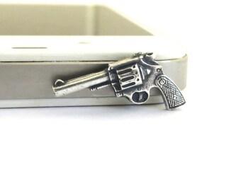Steampunk Gun iPhone & Cell Phone Dust Plug- Universal Cellphone Accessories- Phone Charm