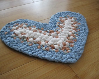 Handmade Kitchen Braided Heart Trivet/Doily/Pot Holder from recycled/upcycled fabrics