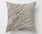 Abstract Winter Pillow Cover, Modern Throw Cushion, Rustic Home Decor, Frosted Branches, Handmade In Canada, Aluminium Gray, Hoarfrost