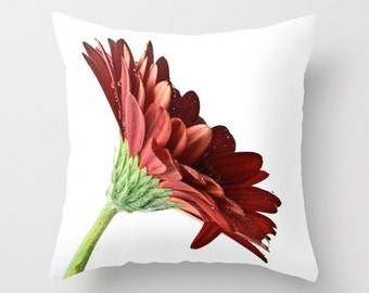Red Pillow Cover, Gerbera Daisy Cushion Case, Bedroom Floral Accent, Living Room Sofa Decoration, Country Chic, Crimson Botanical Art Decor