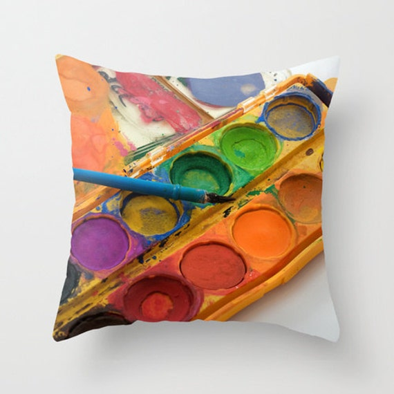 Teacher Gift Bright Pillow Cover Artist Throw Pillow Cushion Royal Blue Aurora Red Freesia Paint Brush Orange Radiant Orchid Green