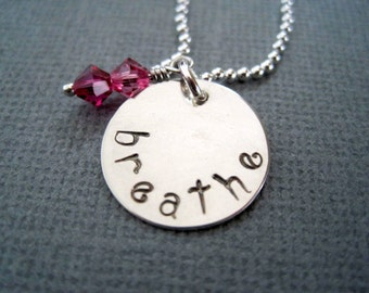 Handstamped necklace stamped breathe sterling silver womans jewelry girls pendant inspirational pink crystal