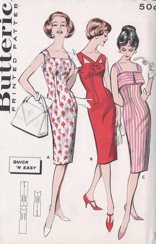 vintage 1950s wiggle dress pattern three necklines