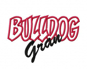 Bulldog Gran Embroidery Machine Applique Design 10696
