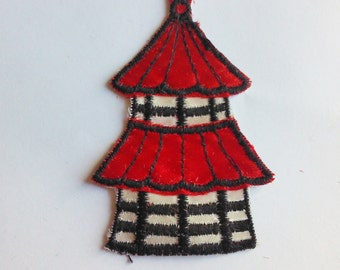Red and White Tower  - 1970's New Vintage Patch Applique