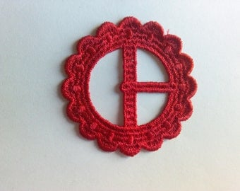 Red Embroidered Buckle Vintage Sewing Patch Applique 1970's