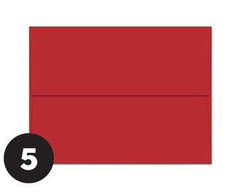 A7 Red Envelopes for 5 x 7 Invitations, Photos  and Cards, Red, Pack of 5